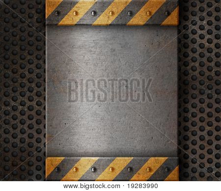 Metal plate over grunge rusty grille