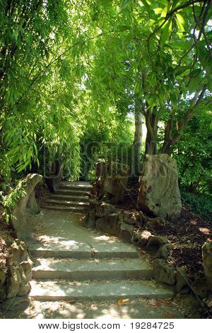 Stone pathway in asian garden