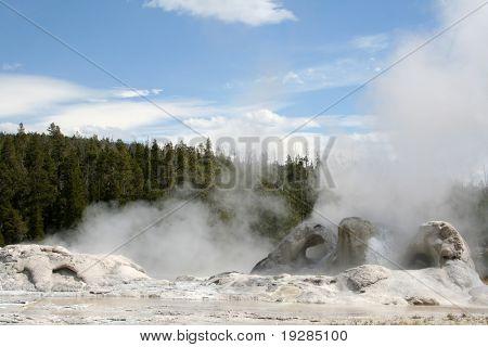 Geyser erupting in Yellowstone National Park