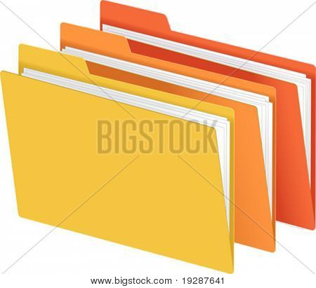 File Folders in Bright Colors Vector Illustration