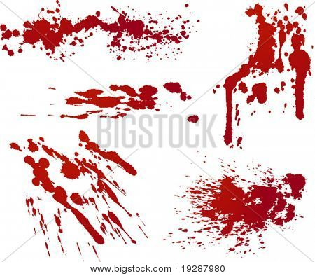 Five red splatters. Each isolated on independent layer in vector file for easy use.