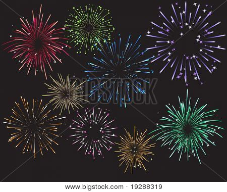 Celebration Fireworks and Colors. Each firework on separate layer in EPS file for easy editing.