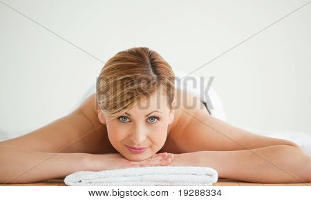 Lovely blond-haired woman relaxing