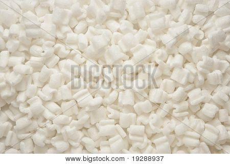Close up of packaging peanuts evenly lit