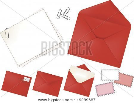 Red Stationery Set of Envelope (four variants), note cards, paper clips, and stamps.
