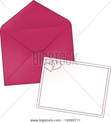 Stationery Envelope and Note Card with Hearts in Pink