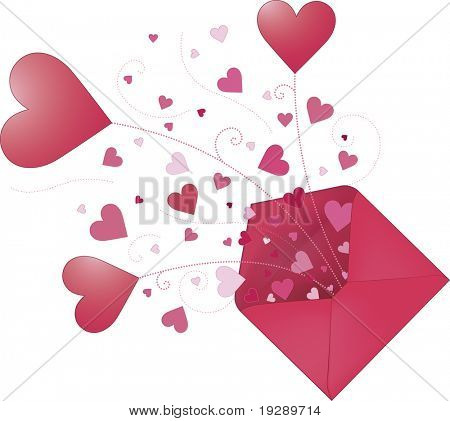 Pink Envelope Bursting with Hearts of Love