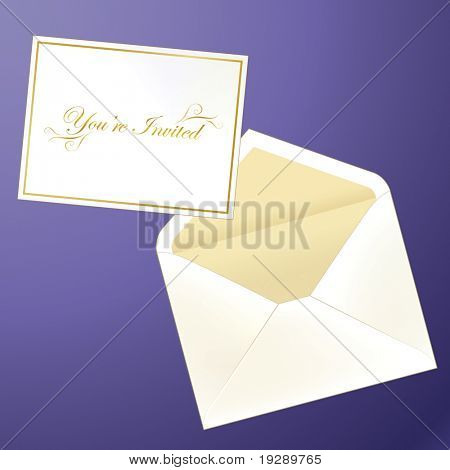 Invitation Card and Envelope in Shiny Golf Colors. Against mauve background (separate layer for easy removal if needed)