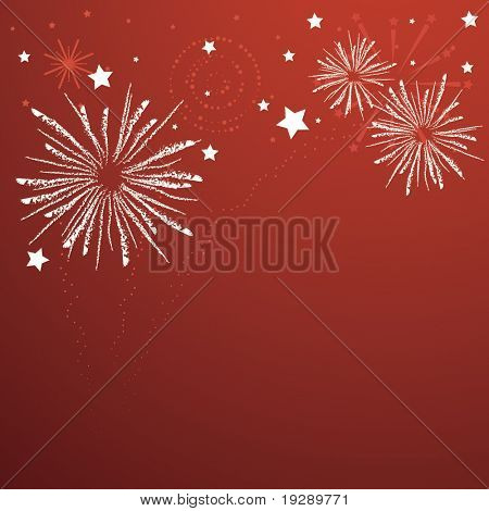 Rough texture firework bursts on graphical firework background in vivid red.
