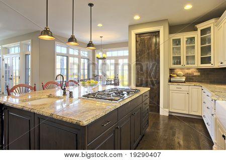 Luxury Kitchen Brightly Lit with Center Cooking Island Area