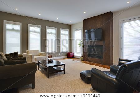 Large Living Room with elegant fireplace and furniture