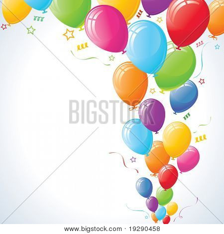Party Balloons with stars and ribbons against vignette vector background.