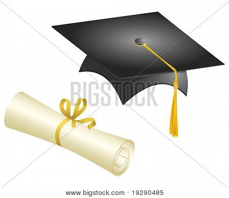 Graduation Cap and Diploma. Each element on separate layers for easy editing.