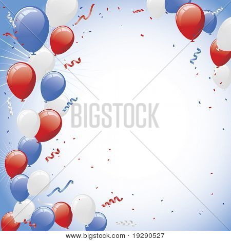 Red white and blue balloons and confetti vector