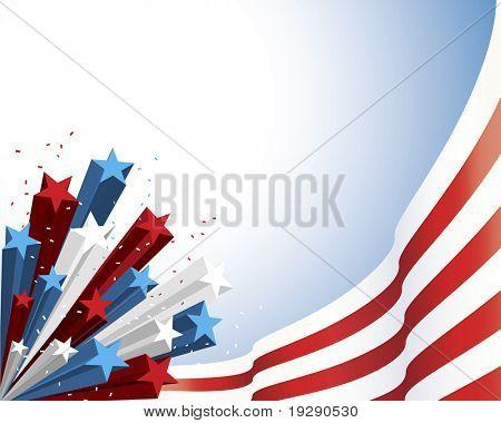 Red patriótica e bandeira branca com tridimensional sombreado star burst