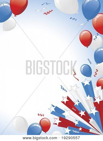 Red White Blue Balloons and 3D star burst. Vertical layout version.