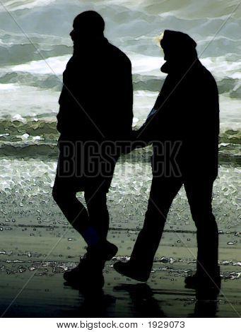 Walk On The Beach   Watercolor  Bw