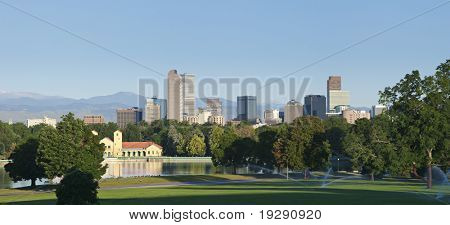 Denver skyline from city park in morning light in summer 2010