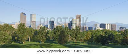Denver city skyline seen from north east side. Summer 2010