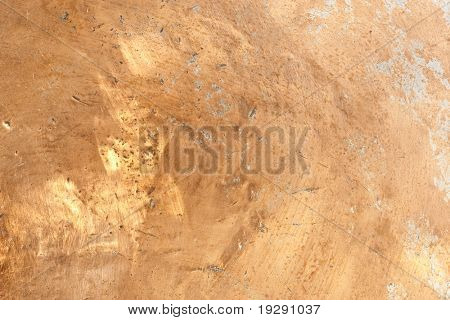 Worn Copper Surface with dents and scratches