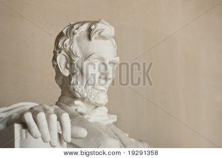 Lincoln Memorial in Washington DC. Nahaufnahme des Kopfes. Gesicht im Mittelpunkt.