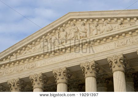 "United States of America Supreme Court. Inscription ""Equal Justice Under Law"" clearly visible and in critical focus."