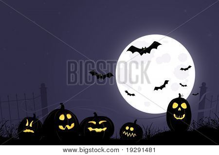 Spooky full moon halloween layout. Jack O'lanterns, full moon, bats, and highly details background. Wisps of fog in background.