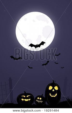 Dark halloween night with pumpkins and full moon with bats flying