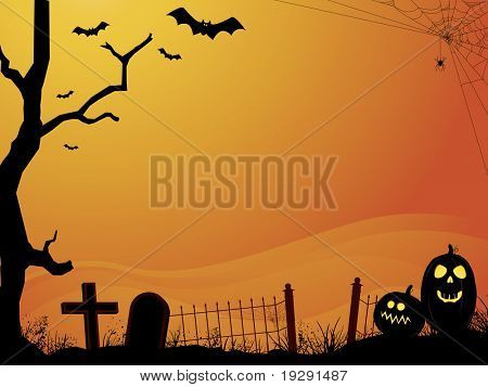 Halloween orange sunset cemetery  with bats, pumpkins, old tree, and gradient fog background