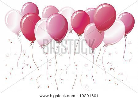 Pink balloons floating together with color-coordinated ribbons