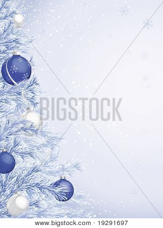 Blue Frosted Christmas Tree with ornaments. Copy space area with faint snowflakes in background.