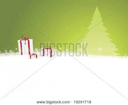 Green Christmas background with tree and snow hill. Detailed gift boxes with ribbon in foreground