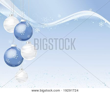 Blue and silver Christmas ornaments on snow and ribbon blue background.