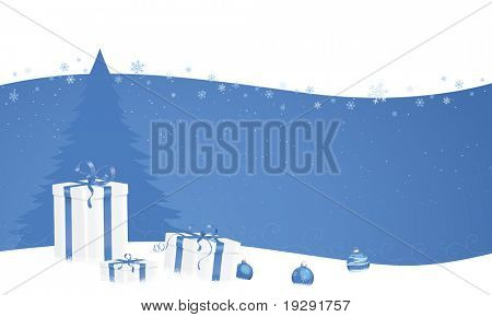 Blue wave banner Christmas design with gifts and tree