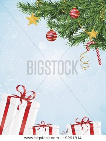 Christmas tree with ornaments over blue background with red ribbon wrapped gift boxes.