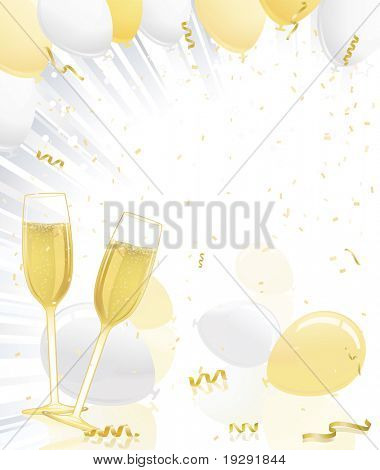 Celebration champagne glasses, gold and silver balloons, ribbons, and silver rays of light explosion. Confetti throughout background.