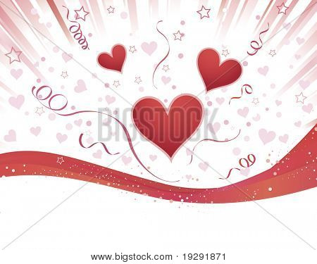 Love heart burst with red ribbon divider from white copy space
