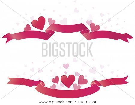 Pink red ribbons with red love hears