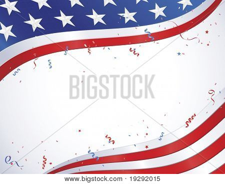 American Flag border design with confetti and ribbons