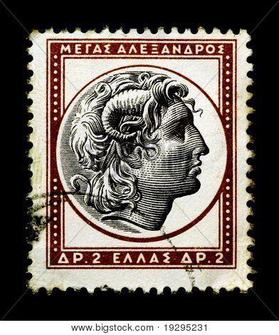 Alexander der große auf griechische Briefmarke