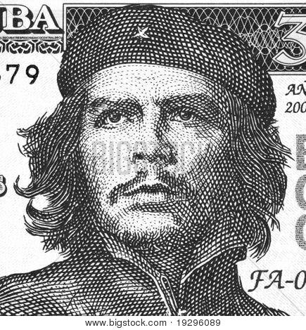 CUBA - CIRCA 2004: Ernesto Che Guevara on 3 Pesos 2004 Banknote from Cuba.