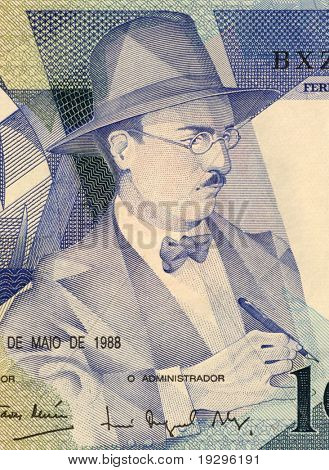 PORTUGAL - CIRCA 1988: Fernando Pessoa (1888-1935) on 100 Escudos 1988 Banknote from Portugal. Portuguese poet, writer, literary critic and translator.