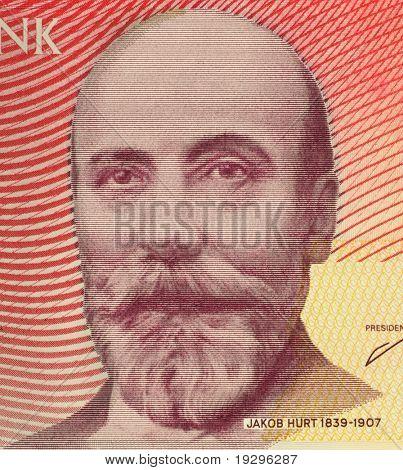ESTONIA - CIRCA 2006: Jakob Hurt (1839-1907) on 10 Krooni 2006 Banknote from Estonia. Estonian folklorist, theologian and linguist.