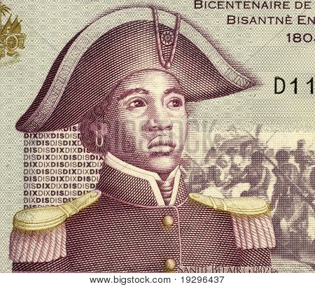 HAITI - CIRCA 2004: Sanite Belair (1781-1805) on 10 Gourdes 2004 Banknote from Haiti. Freedom fighter and revolutionary, sergeant in the army of Toussaint Louverture, CIRCA 2004