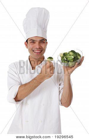 Attractive Nepalese Chef Male, Broccoli