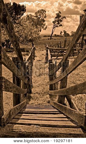 looking down the old sheep loading race or run to the paddocks beyond in sepia