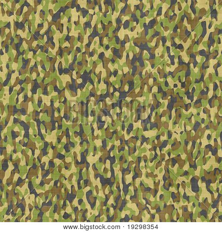 large seamless image of cloth printed with military camouflage pattern