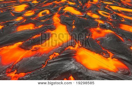 a large background image of molten lava