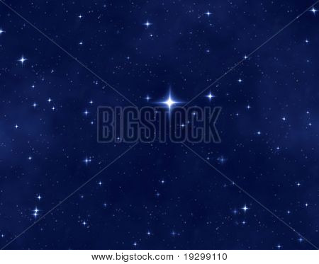 um bom campo estrela azul de estrelas brilhantes e brilhantes e uma estrela brilhante do Natal