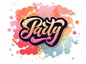Vector Illustration Of Party Poster Template With 3D Lettering Typography. poster
